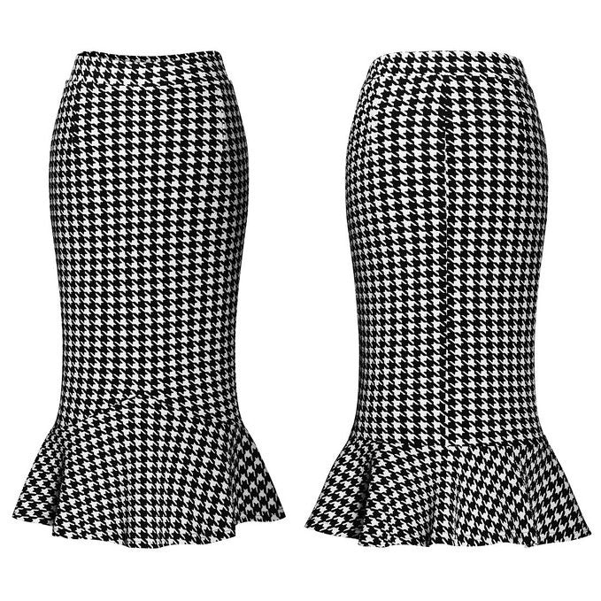 With its classic silhouette and demure length, this fabulous houndstooth trumpet skirt is also exceptionally easy to wear.