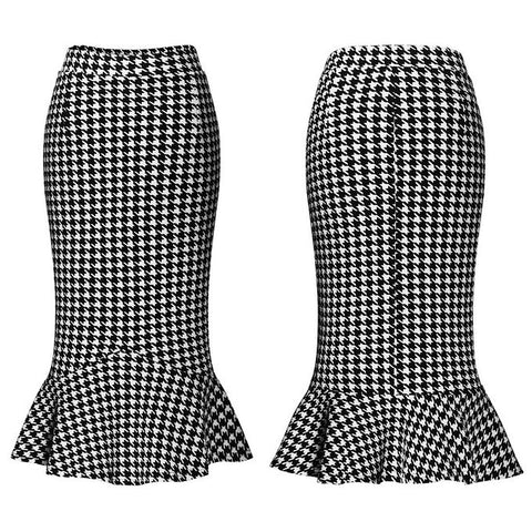 savoir-faire skirt in houndstooth
