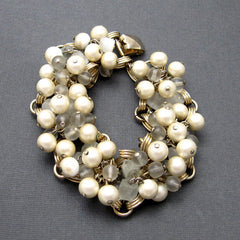 Spectacular vintage 1950's pearl and lucite bracelet