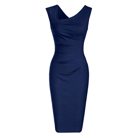 Sleeveless navy blue sheath dress with asymmetric neckline and flattering ruching.