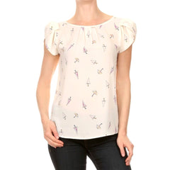 Charming white summer top with a pretty umbrella print.