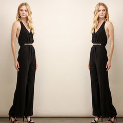 Chic black wide-leg jumpsuit with open back.