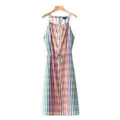 Colorful madras plaid sleeveless midi sundress.