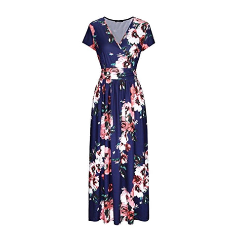 Lovely deep blue maxi dress in a summery floral print.