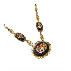 Stunning antique 1920's art deco mosaic necklace with three dramatic floral pendants.