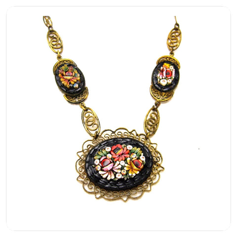 vintage 1920's mosaic necklace