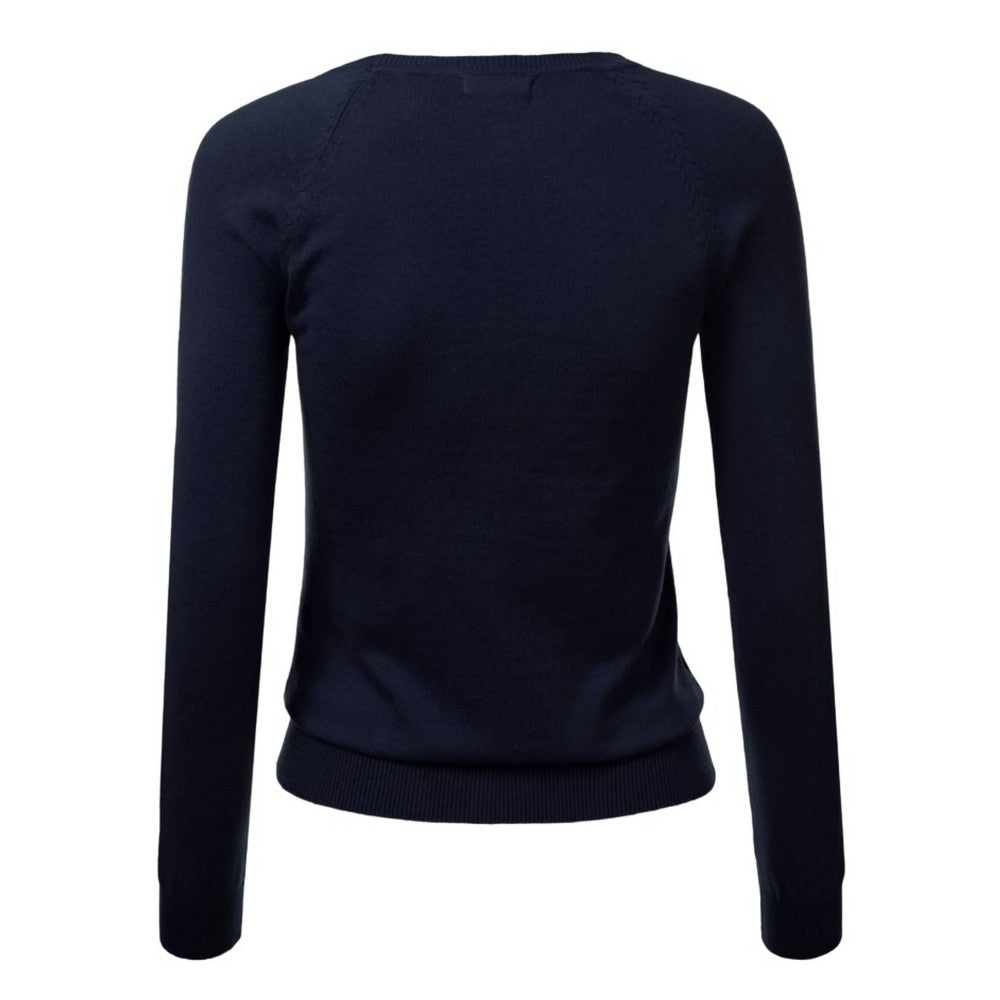 Classic navy v-neck cardigan sweater in a four-seasons, medium-weight fabric. Ribbed cuffs and waist, soft stretchy cotton blend.