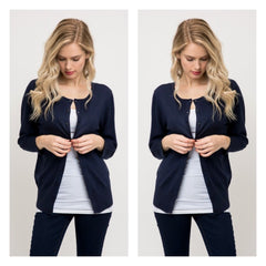 Classic navy blue long-sleeved crewneck cardigan in a soft, medium-weight fabric.