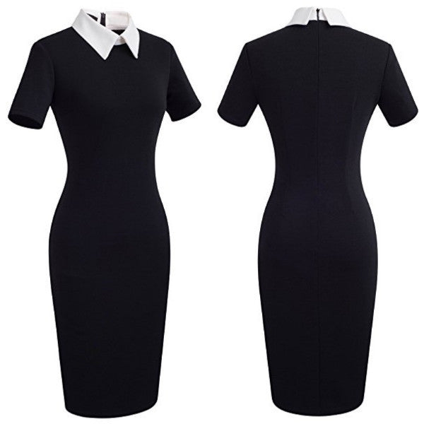 Black day-to-night dress with white contrast collar.