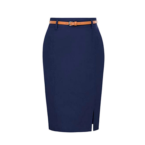 Wear-to-work classic knee-length navy blue pencil skirt with coordinating belt.