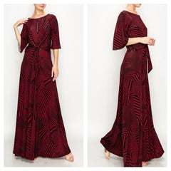 Spectacular deep wine venechia print maxi dress with kimono sleeves and flattering waist tie.