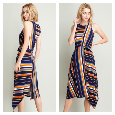 Colorful striped a-line midi dress with asymmetric hem.