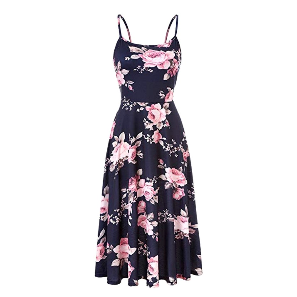 Pretty dark blue midi dress with pink rose print.