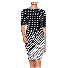 Fabulous black and white op art printed sheath dress.