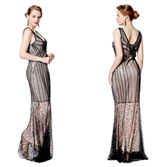 Stunning 1930's-inspired beaded champagne evening gown.