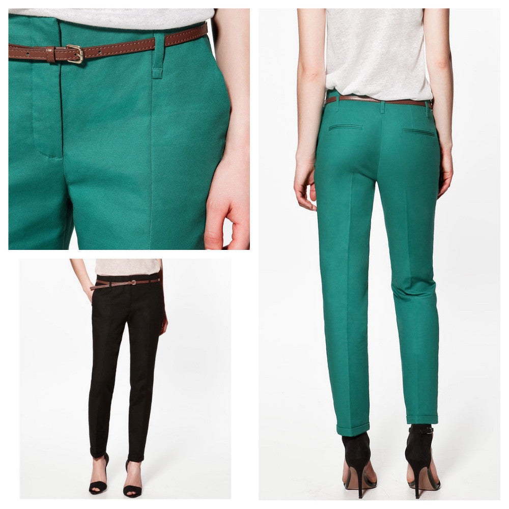 Mid-rise pencil trousers.