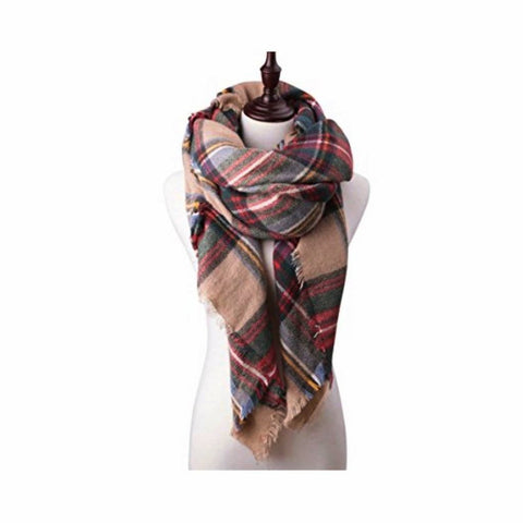 plaid pashmina in buff