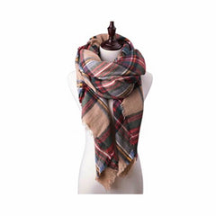 Classic neutral plaid oversized scarf, all-seasons pashmina.