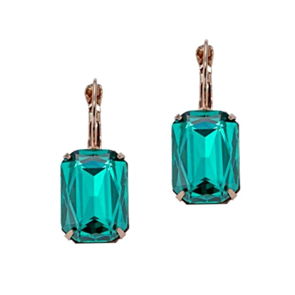 Lovely faceted green-blue dangle earrings.