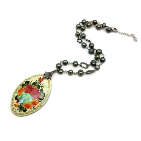 vintage hand-painted pendant necklace