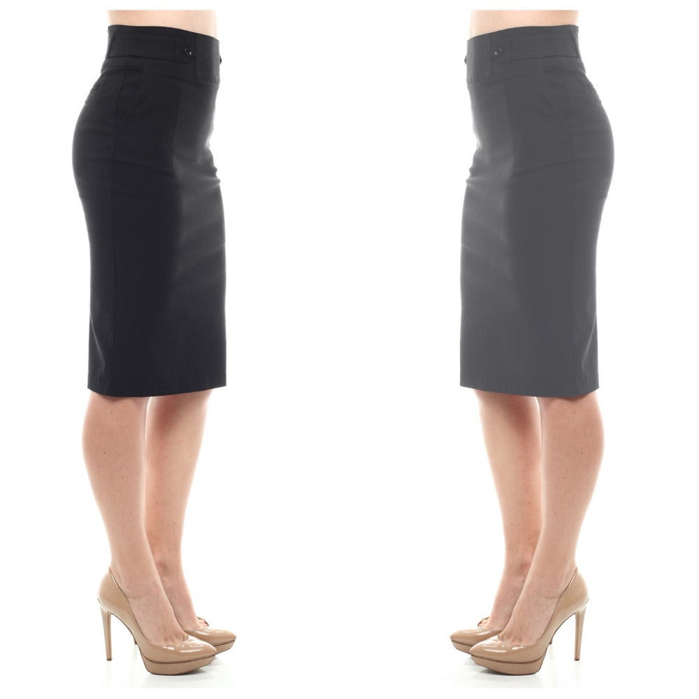 Dark midi pencil skirt