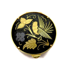 Lovely vintage 1960's damascene pill box with gold bird and flower motif.