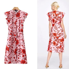 Pretty pink 1940's-inspired red floral print petal sleeve shirt dress.