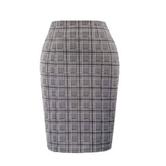 Classic charcoal gray knee-length pencil skirt.