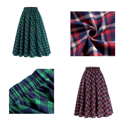 plaid midi skirt in autumn red