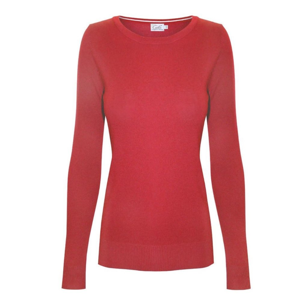 Classic cherry crewneck sweater in a soft, medium-weight fabric with a pinch of stretch
