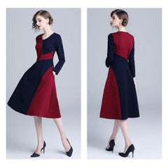 Charming blue and red color-block, long-sleeved fit-and-flare midi a-line dress.