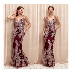 Stunning deep wine sleeveless evening dress with shimmering floral lace embroidery.
