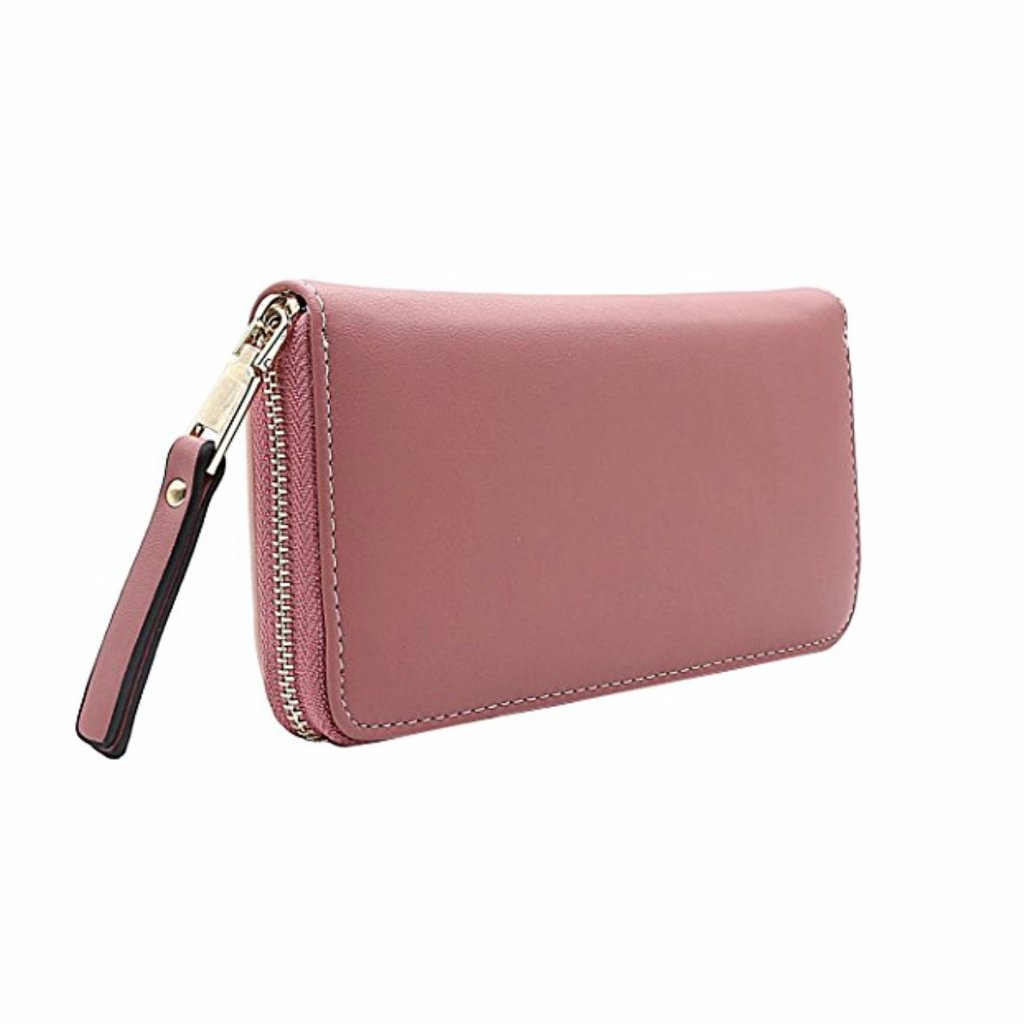 Chic color block wristlet/clutch in pink.