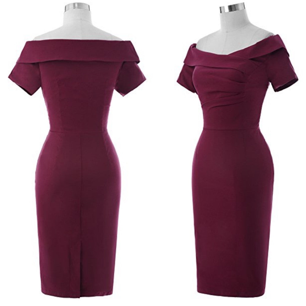 Off-the-shoulder hourglass dress in deep merlot.