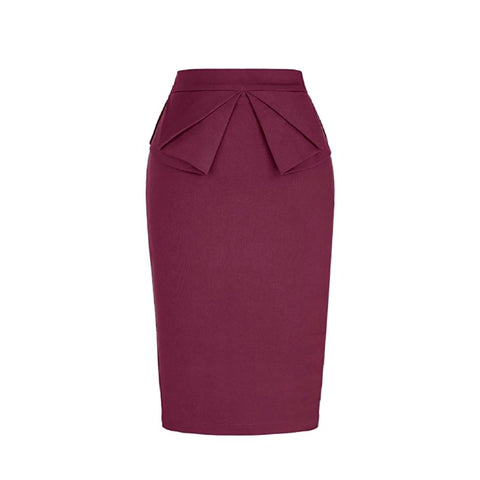 peplum skirt in raspberry