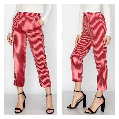 Classic red pinstripe capri cigarette pants with hip pockets.