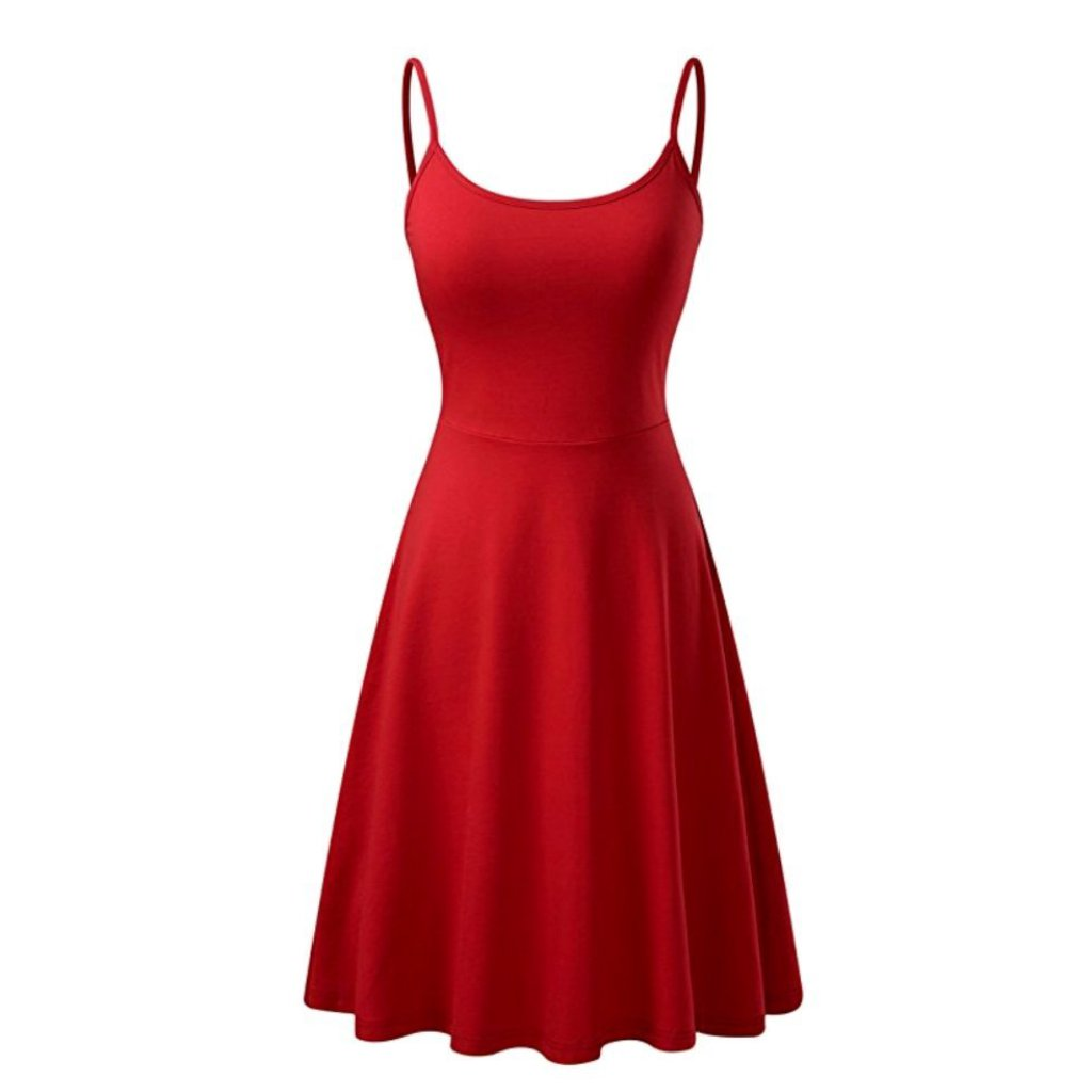 Summery little red sleeveless a-line dress with adjustable straps.