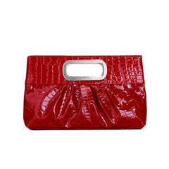 Red leather clutch, vegan purse.