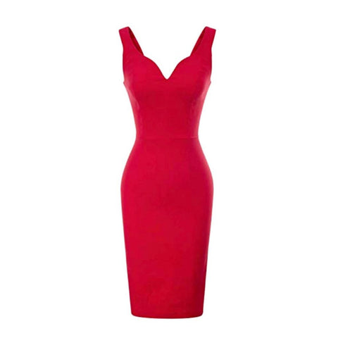 Classic little red pencil dress with sweetheart neckline.