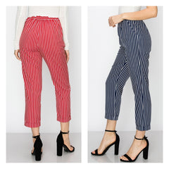 Classic red pinstripe capri ankle pants with hip pockets.