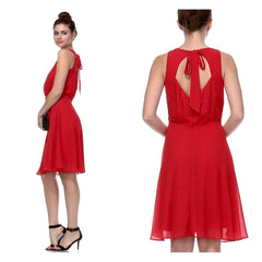Summery red chiffon sleeveless pleated a-line dress.