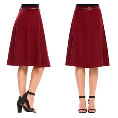 Flattering dark red brown a-line midi skirt with coordinating belt.
