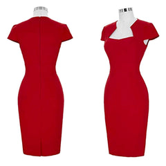 Classic red pencil dress with cap sleeves and cut-out neckline.