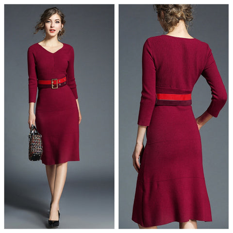 red delicious sweater dress