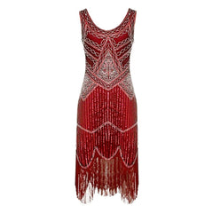 1920's-inspired shimmering claret beaded sheath with sequin and fringe detail.