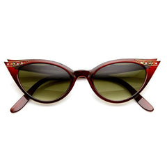 Classic, red vintage-inspired cat-eye sunglasses with elegant rhinestone detail.