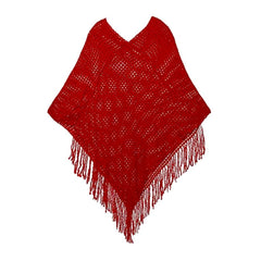 Red crochet knit shawl/wrap with fringe and sequin detail.