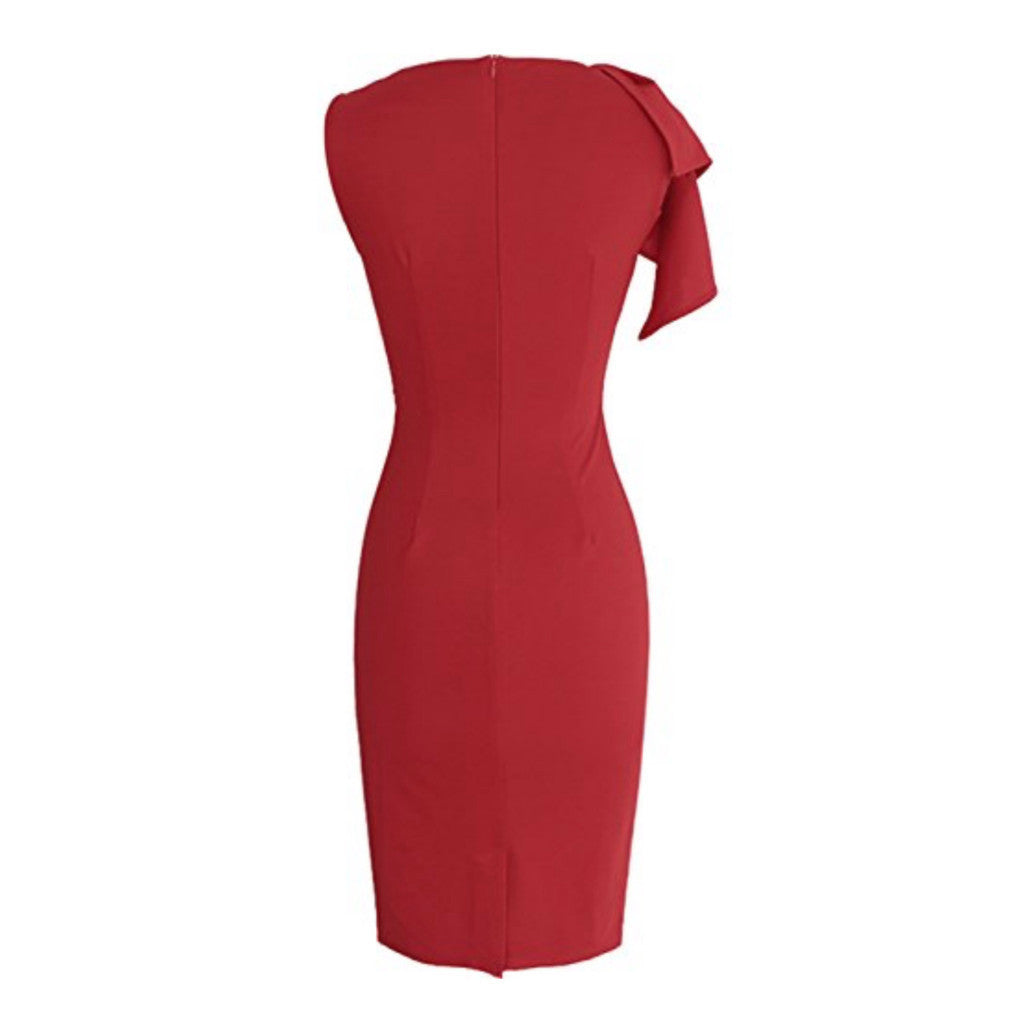 Classic red flutter-sleeve sheath.