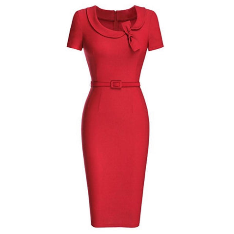 Classic red cap-sleeved pencil dress with peter pan collar and matching belt.