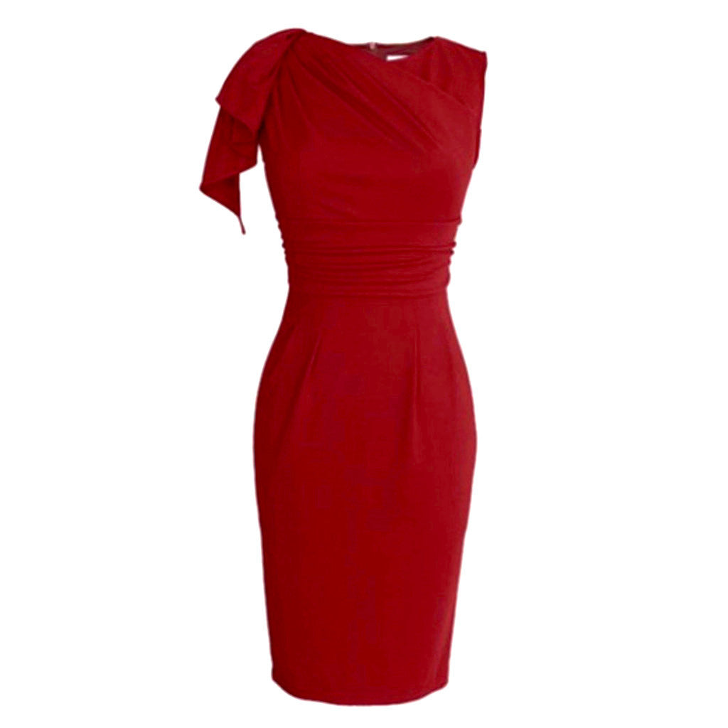 1950's-style red wiggle dress with flutter sleeve.
